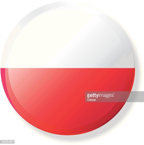 polen flagge revers mit knopf - polnische flagge stock-grafiken, -clipart, -cartoons und -symbole