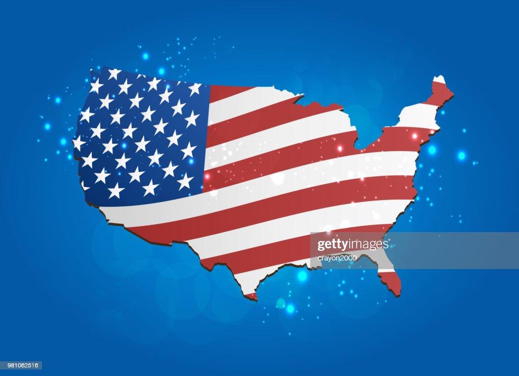 USA flag map modern style