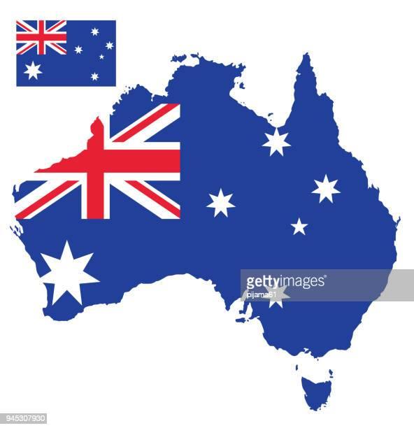 flag map of australia - australian flag stock illustrations