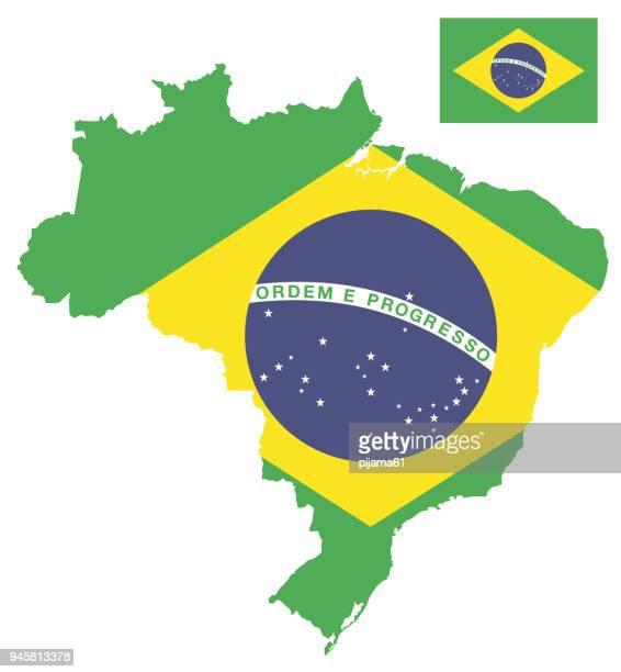 ブラジルの旗地図 - 国境点のイラスト素材/クリップアート素材/マンガ素材/アイコン素材