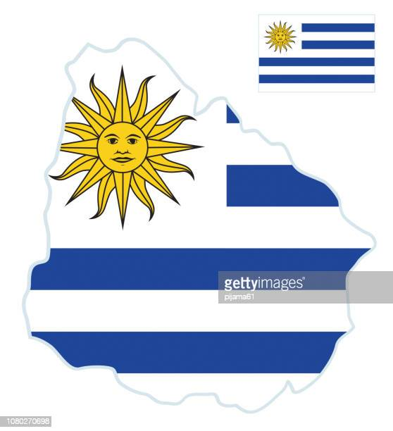 flag map of uruguay - uruguay stock illustrations