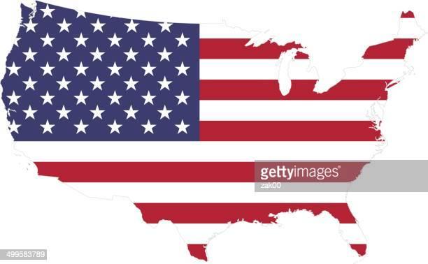 illustrazioni stock, clip art, cartoni animati e icone di tendenza di mappa di bandiera degli stati uniti - frontiera nazionale