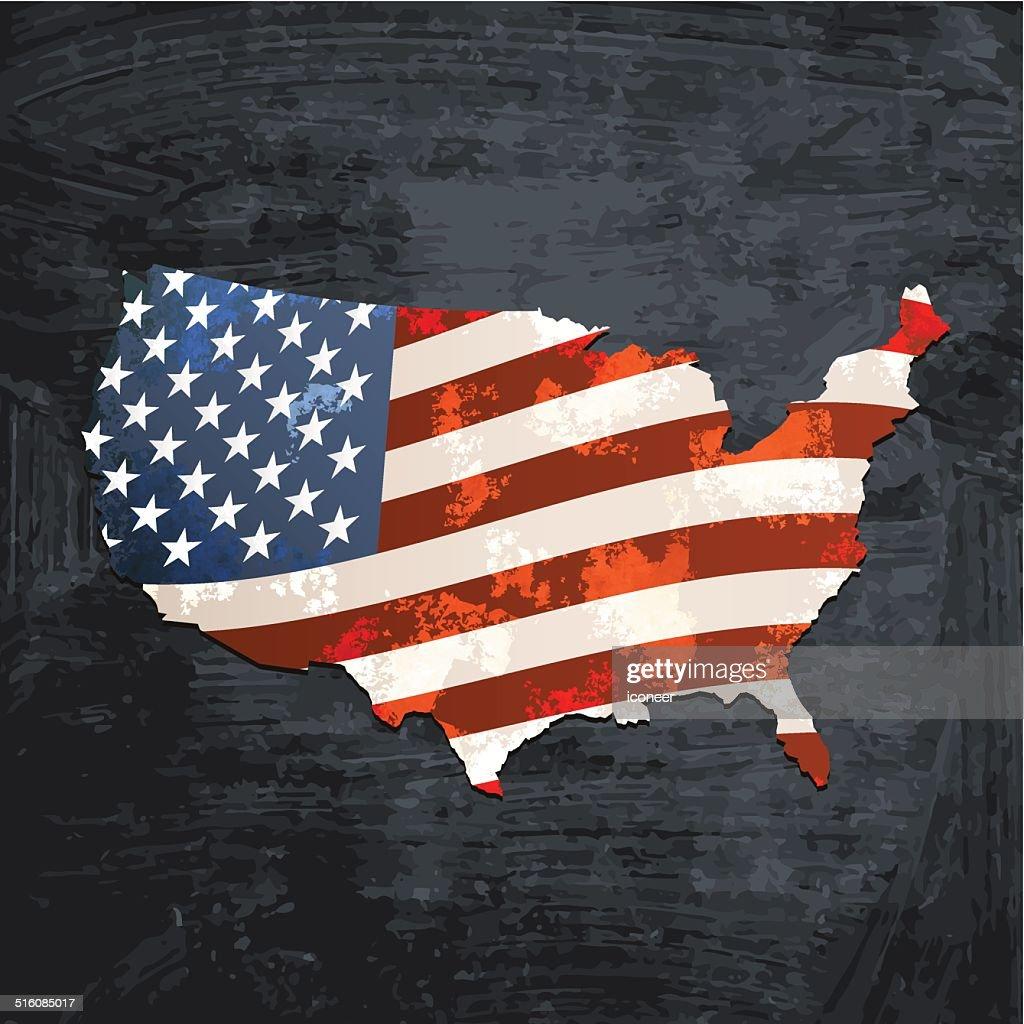 USA flag map on blackboard