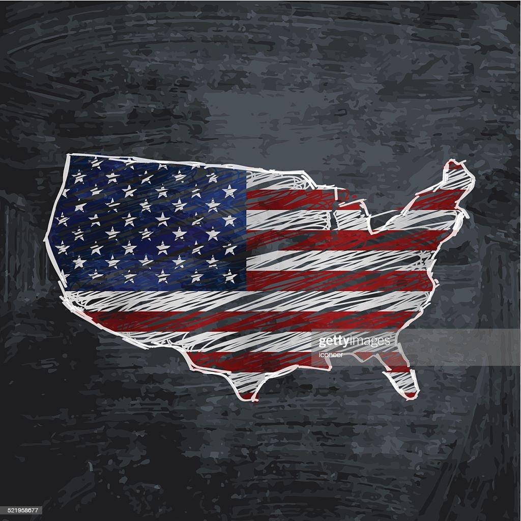 USA flag map on dark chalkboard background