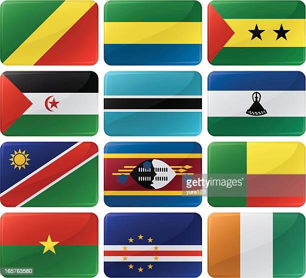 ilustrações, clipart, desenhos animados e ícones de bandeira botões de menu - botsuana