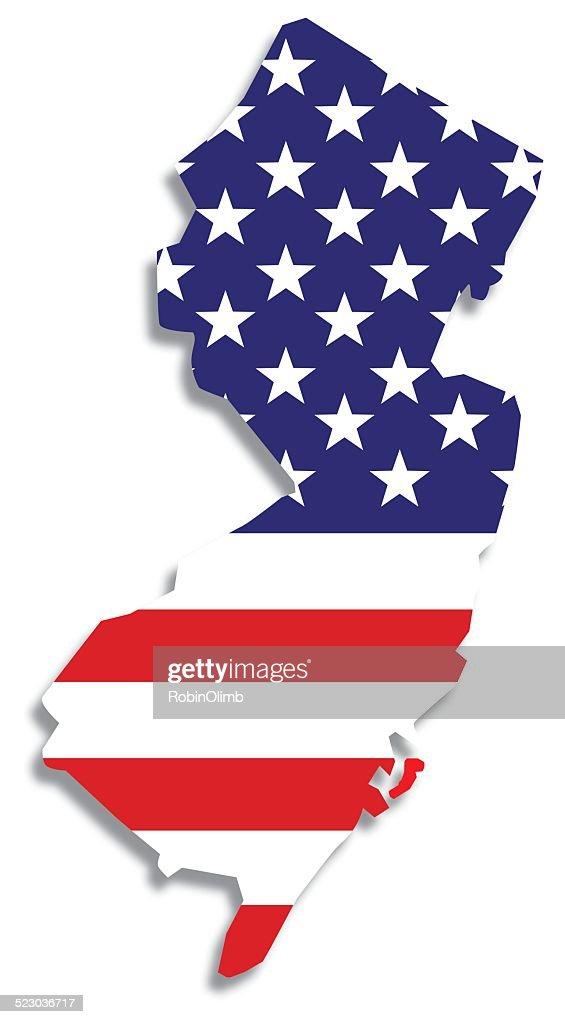 USA Flag New Jersey Map