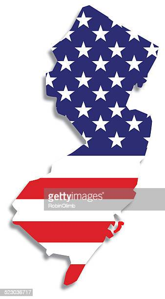 USA Flag New Jersey Map