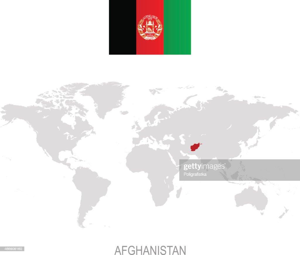 Flagge Von Afghanistan Und Bezeichnung Auf Der Weltkarte ...