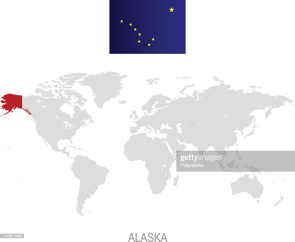 Flag Of Alaska And Location On World Map High-Res Vector ...