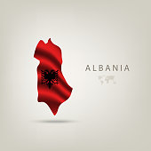 Flag of ALBANIA as a country with a shadow