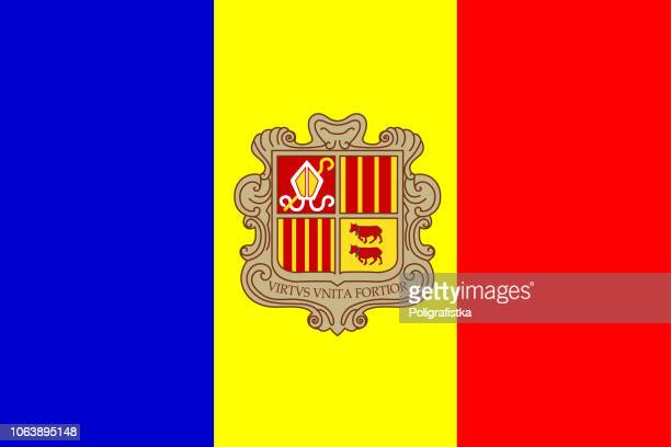 flag of andorra - andorra stock illustrations