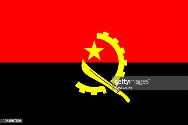 bildbanksillustrationer, clip art samt tecknat material och ikoner med angolas flagga - angola