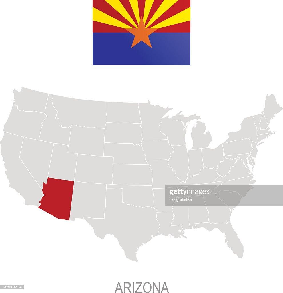 Flagge Von Arizona Und Lage Auf Usakarte Stock-Illustration ...