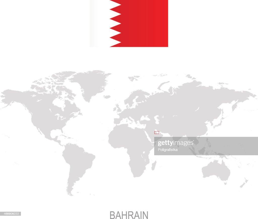 Flag Of Bahrain And Designation On World Map Vector Art | Getty Images