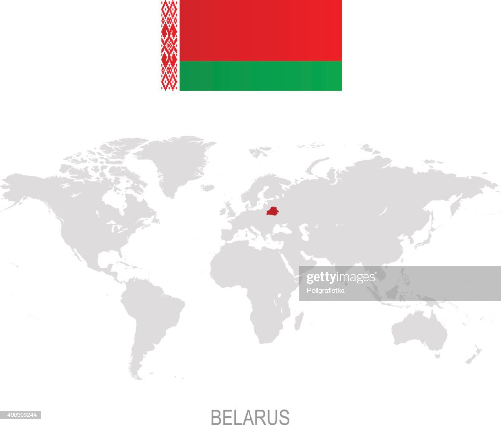 Picture of: Flag Of Belarus And Designation On World Map High Res Vector Graphic Getty Images