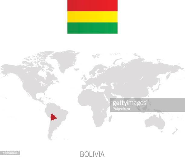 Flag of Bolivia and designation on World map