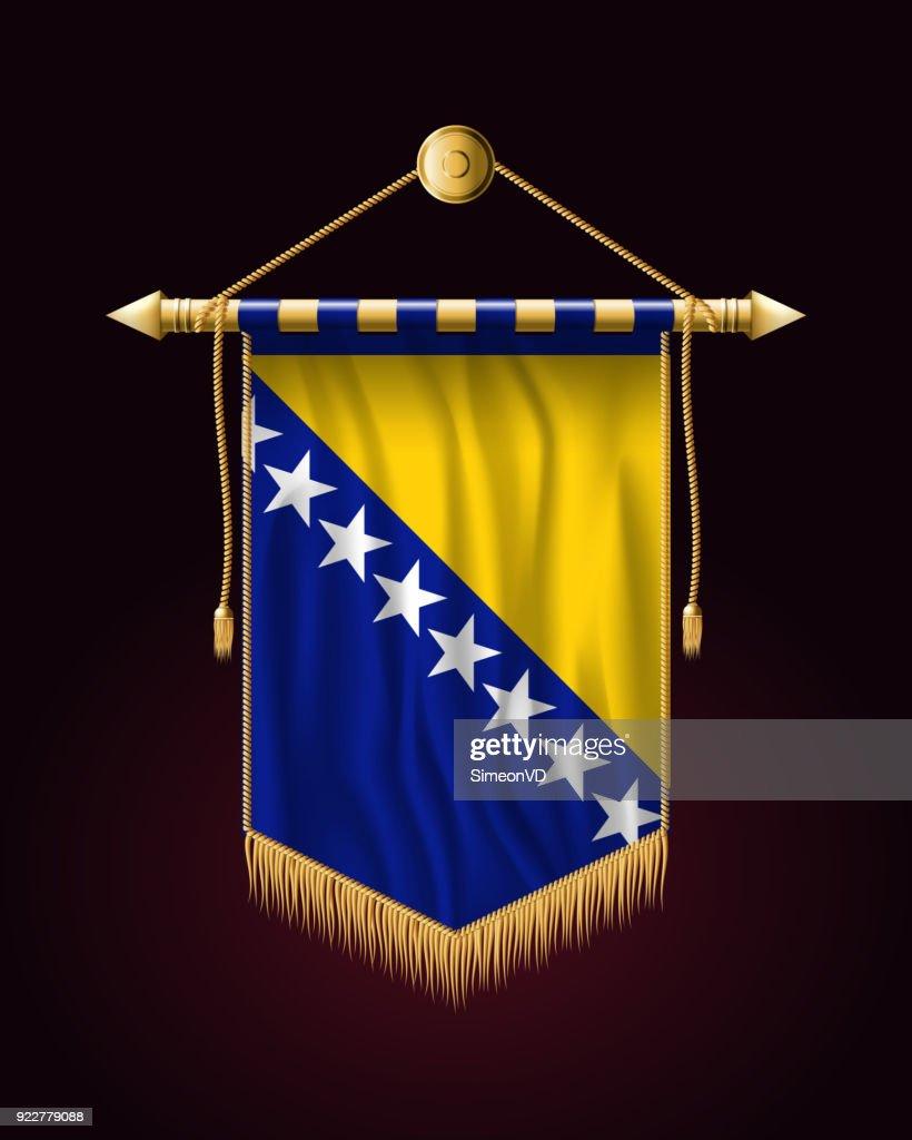 Flag of Bosnia and Herzegovina. Festive Vertical Banner. Wall Hangings with Gold Tassel Fringing