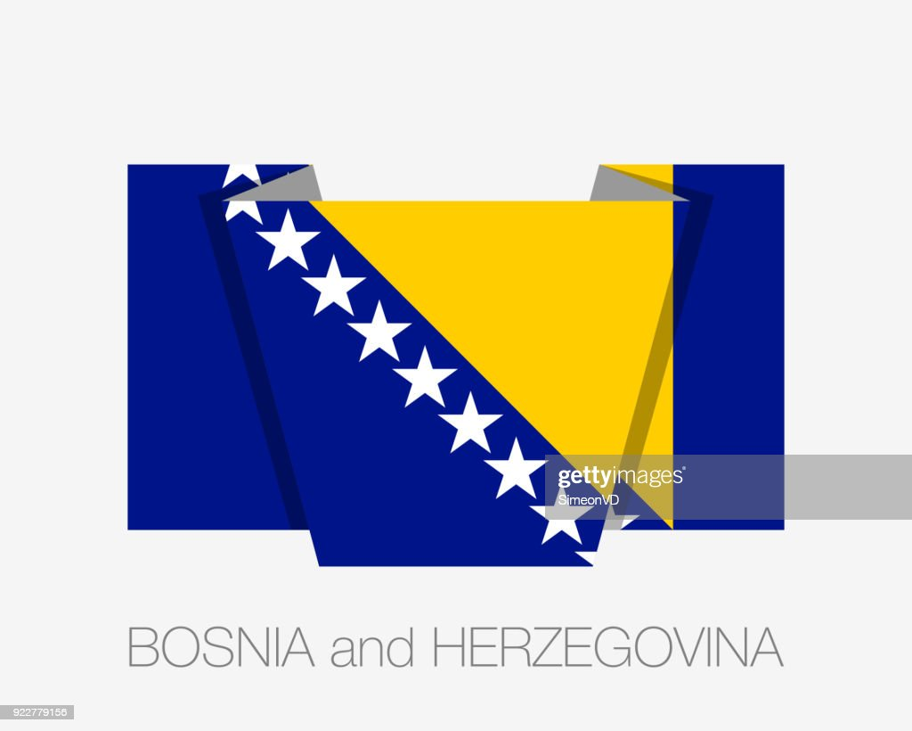 Flag of Bosnia and Herzegovina. Flat Icon Waving Flag with Country Name on a White Background