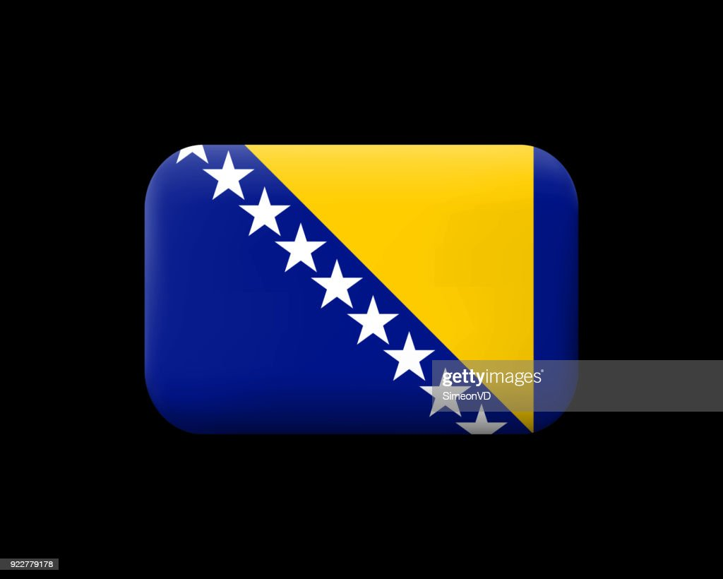 Flag of Bosnia and Herzegovina. Matted Vector Icon and Button. Rectangular Shape with Rounded Corners