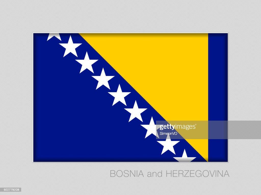 Flag of Bosnia and Herzegovina. National Ensign Aspect Ratio 2 to 3 on Gray Cardboard