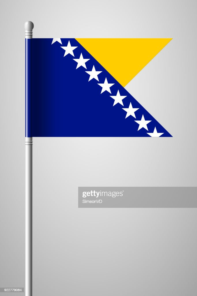 Flag of Bosnia and Herzegovina. National Flag on Flagpole. Isolated Illustration on Gray Background