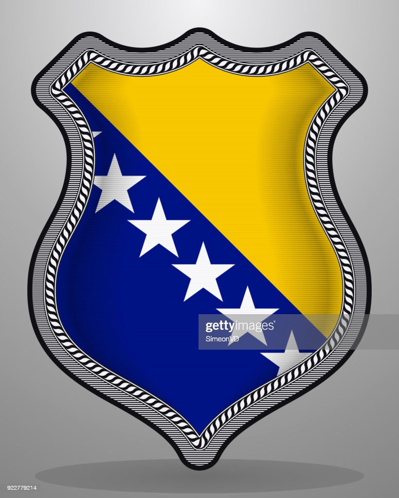 Flag of Bosnia and Herzegovina. Vector Badge and Icon with Central Glossy National Symbol
