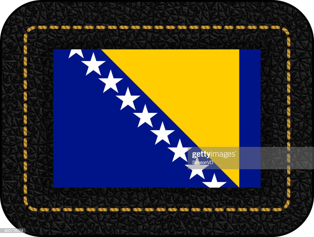 Flag of Bosnia and Herzegovina. Vector Icon on Black Leather Backdrop. Aspect Ratio 2:3