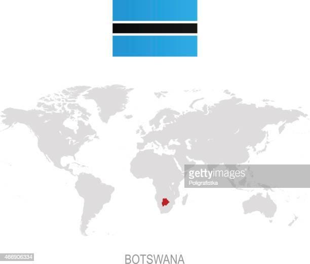 flag of botswana and designation on world map - botswana stock illustrations, clip art, cartoons, & icons