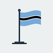 Flag Of Botswana.Flag Stand. Vector Illustration
