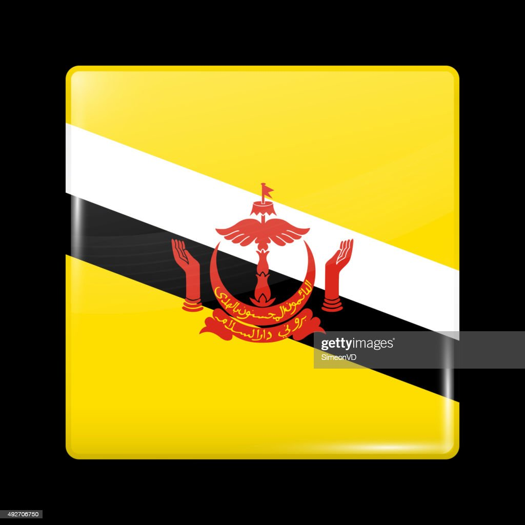 Flag Of Brunei Glassy Icon Square Shape Vector Art Getty Images