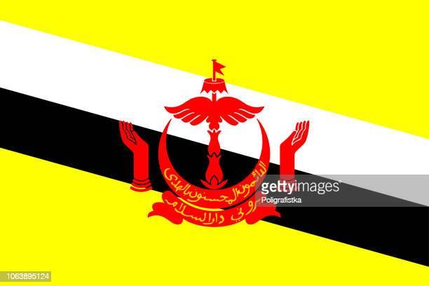 flag of brunei - brunei stock illustrations