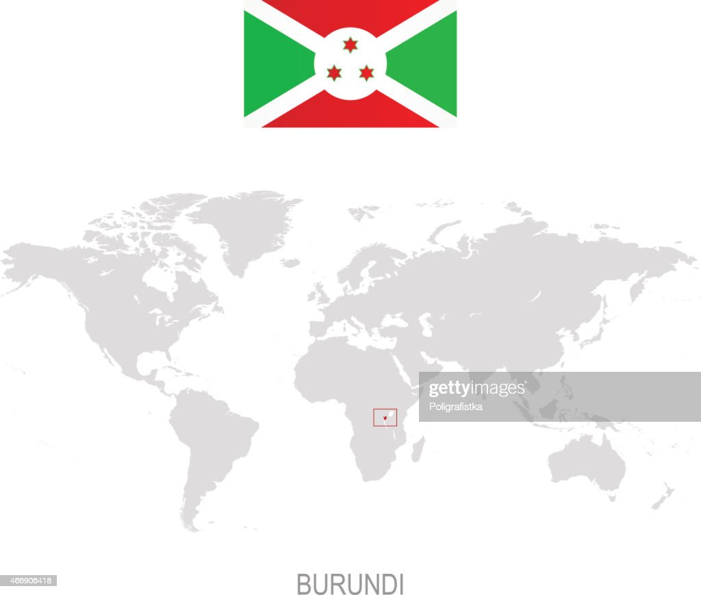 Flag Of Burundi And Designation On World Map Vector Art Getty Images - Where is burundi on a world map