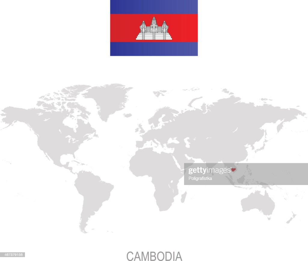 Flag Of Cambodia And Designation On World Map High-Res ...