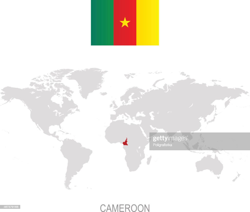 Flag Of Cameroon And Designation On World Map Vector Art | Getty Images