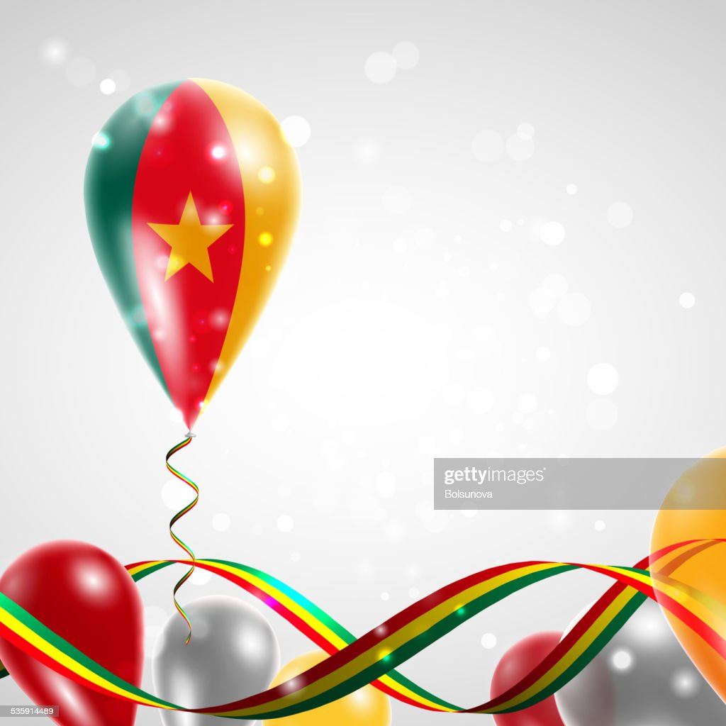 Flag of Cameroon on balloon : Vector Art