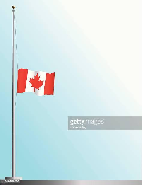 flag of canada at half-staff - half mast stock illustrations