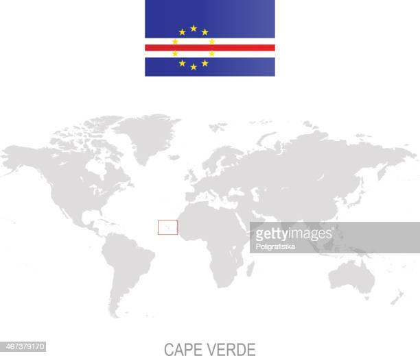 ilustrações, clipart, desenhos animados e ícones de bandeira de cabo verde e da designação no mapa-múndi - cabo verde