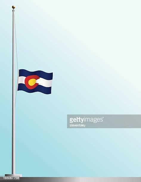 flag of colorado at half-staff - half mast stock illustrations
