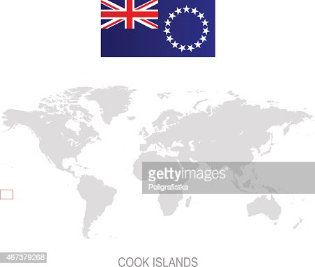 Cook Islands On World Map.Flag Of Cook Islands And Designation On World Map Vector Art Getty