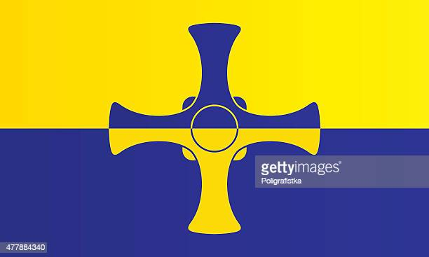 flag of county durham - northeastern england stock illustrations, clip art, cartoons, & icons