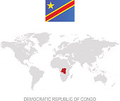 Flag of Democratic Republic Congo and designation on World map