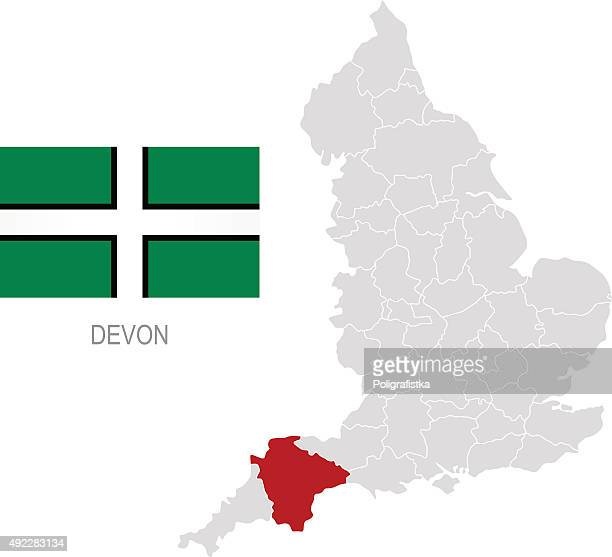 Flag of Devon and location on England map