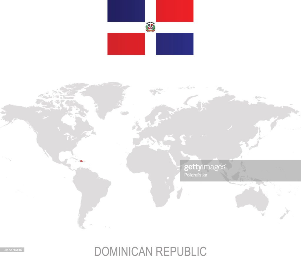 Flag Of Dominican Republic And Designation On World Map stock ... Dominican Republic Map Flag on