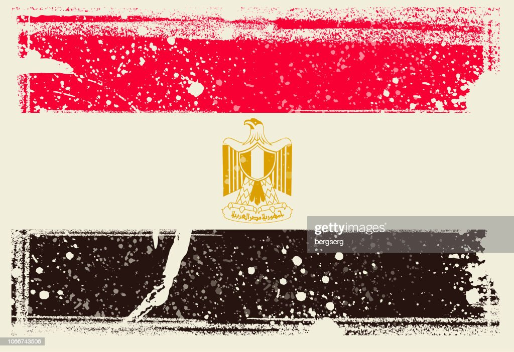 Flag Of Egypt Vector Illustration With Grunge Frame High Res Vector Graphic Getty Images