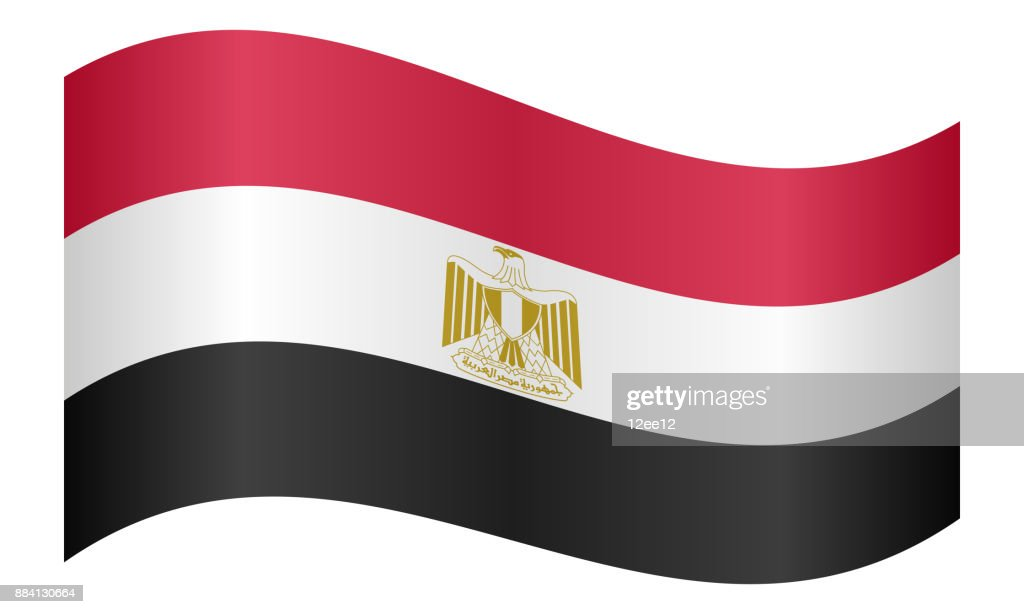 Flag of Egypt waving on white background