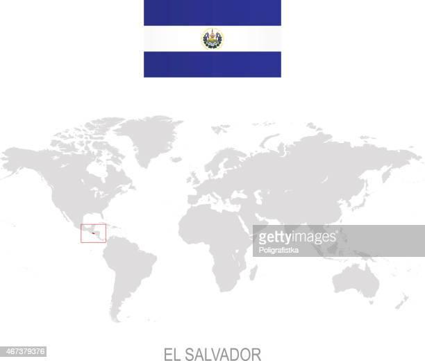 国旗のエルサルバドルと向けに世界地図 - エルサルバドル国旗点のイラスト素材/クリップアート素材/マンガ素材/アイコン素材
