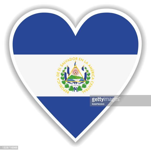 影と白い輪郭を持つ心のエルサルバドルの旗 - エルサルバドル国旗点のイラスト素材/クリップアート素材/マンガ素材/アイコン素材