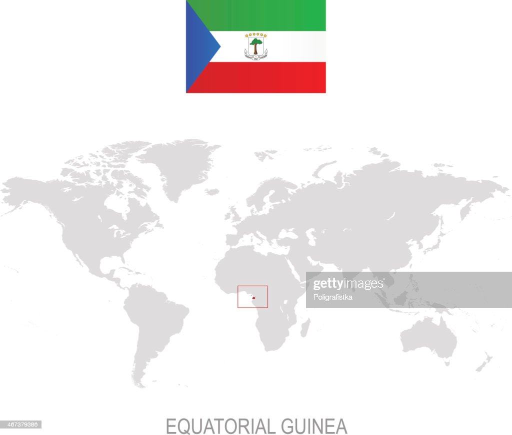Flag Of Equatorial Guinea And Designation On World Map Vector Art ...