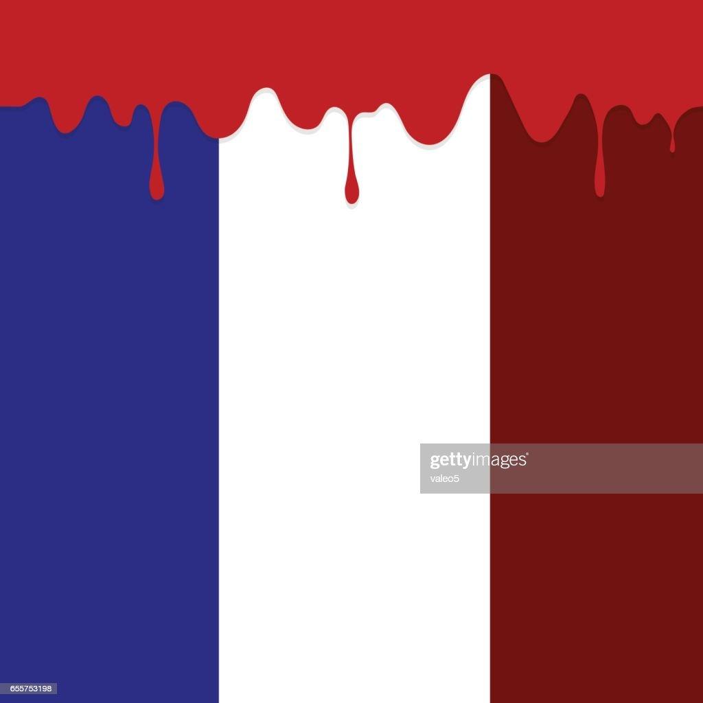 Flag of France and Blood Splatter