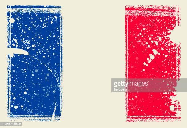 stockillustraties, clipart, cartoons en iconen met vlag van frankrijk. vectorillustratie met grunge frame - franse vlag